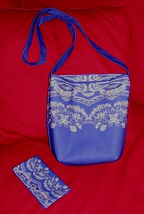 blue roses flower floral bag lace pocket damask shoulderbag