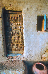 Mali : Land of the Dogons, Youga #1 (foto_morgana) Tags: africa door house window traditional pottery afrika mali ethnic nikoncoolscan dogon analogphotography ethnicity traditionalculture afrique youga etnia traditionnel analogefotografie vuescan traditioneel ethnie photographieanalogue etniciteit cliffsofbandiagara