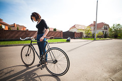 4 (Dima Viunnyk) Tags: travel summer sunlight love girl beautiful beauty smile bicycle fun holding couple day commuter fixed suburb embracing vsco