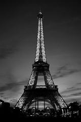 Eiffel Tower_B&W (AshleyCNY) Tags: leica longexposure sunset sky blackandwhite bw paris france tower architecture contrast photography eiffeltower bluesky eiffel nightsky nightscene nightfall architecturalphotography colorfulsky leicam9 ashleycny