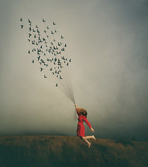 Flying Away (R. Keith Clontz) Tags: conceptualart fantasy girlflying flyingbirds painterly moody reddress stormysky flyinghair birdsonstrings rkeithclontz leahspitz visualiphotography