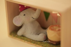 Elephant Gift Box,Shadow Box, handmade penguin, handmade home deco,handmade art dolls (charles fukuyama) Tags: cute birthday party birthdaycake giftideas miniature dollhouse miniaturefood sculpted deskdecor kikuike  decoration cuteanimals