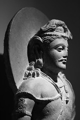 Mustachioed Statue (K.G.Hawes) Tags: chazenmuseumofart art history historic historical india indian sculpture statuary statue statues relief stone carved carving religious religion black white bw monochrome monochromatic chiaroscuro shadow shadows