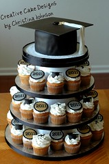 Graduation Cupcake Tower (Christina's Dessertery) Tags: white black tower cake silver gold diploma graduation cupcake cap toppers christinajohnson creativecakedesigns