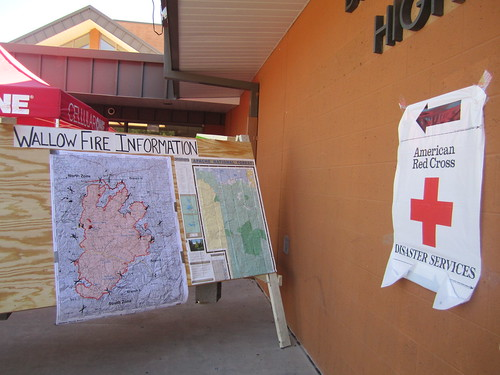 Blue Ridge High School Red Cross Shelter and Wallow Fire Information board