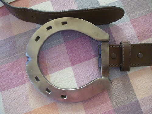 Metal horseshoe belt buckle