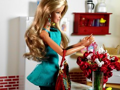Pleasant Surprise (MyDollWorld) Tags: red roses kitchen video barbie fashiondoll basics mattel diorama dollhouse dollies barbiedoll photostory 16scale playscale dollsfashionshop