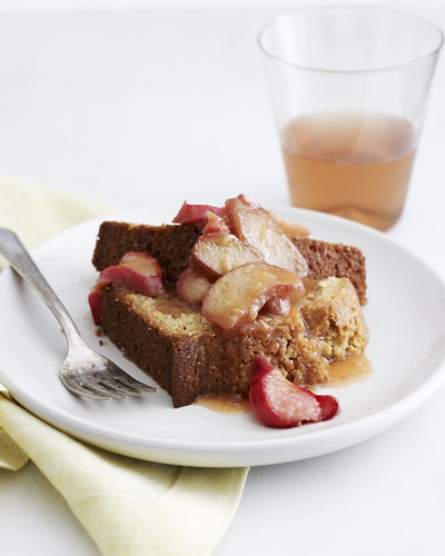 1 Picturesandpancakes-Olive Oil Cake Slice Roasted Rhubarb