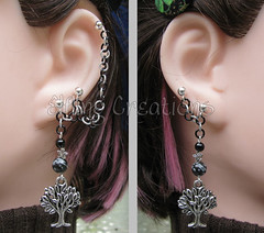 Black and silver star and tree cartilage chain earrings