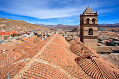 Bolivia-100602-254 (Kelly Cheng) Tags: travel roof color colour building tower heritage tourism church southamerica motif sunshine horizontal architecture clouds landscape design daylight colorful day pattern cloudy outdoor religion colonial culture vivid sunny bolivia bluesky nobody nopeople christian unesco monastery christianity colourful copyspace convent potosi traveldestinations conventofsanfrancisco pickbykc