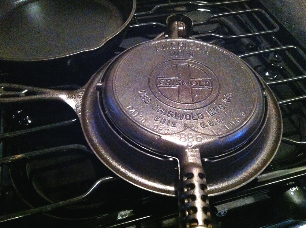 Griswold cast iron stovetop waffle iron....cleaned, oiled, and ready to use!