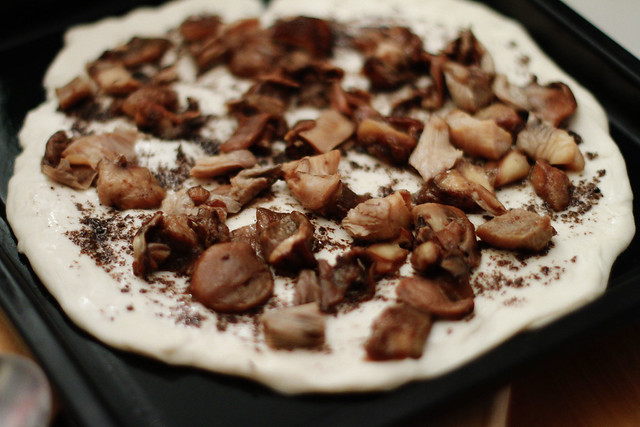 Black Truffle Pate & Mixed Mushrooms Pizza before Baking