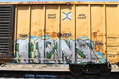 LENS (KNOWLEDGE IS KING_) Tags: urban color art car yard train bench lens one graffiti paint artist im panel tracks style rail railway sunny canvas socal crew solo ugly boxcar piece burner bomb leroy freight rolling drown spraycan fill the in tbox ttx krh