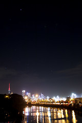 Orion Belt in Auckland (kltsang) Tags: city longexposure light newzealand sky cloud reflection lines skyline night clouds stars lights star belt nightscape auckland nz orion skytower constellation 2014