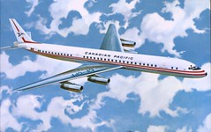 CPA SpaceMaster Jet, Douglas DC-8 (SwellMap) Tags: postcard vintage retro pc chrome 50s 60s sixties fifties roadside midcentury populuxe atomicage nostalgia americana advertising coldwar suburbia consumer babyboomer kitsch spaceage design style googie architecture airplane jet airliner airport