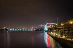 Cardiff Bay Barrage at Night (mattcfarr52) Tags: lights night olympus wales landscape sea cardiff omdem10 bay water southwales coast marine evening harbour barrage