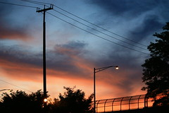 ~Nocturne Approaches~ (Captain Creepy) Tags: street bridge sunset sky clouds lights sundown overpass powerlines