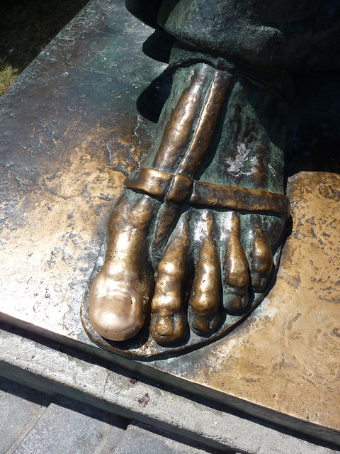 The statue of Gregory of Nin in Split (toe)