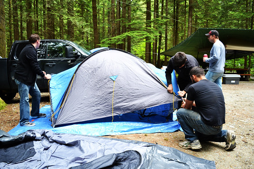 Setting up the Tent