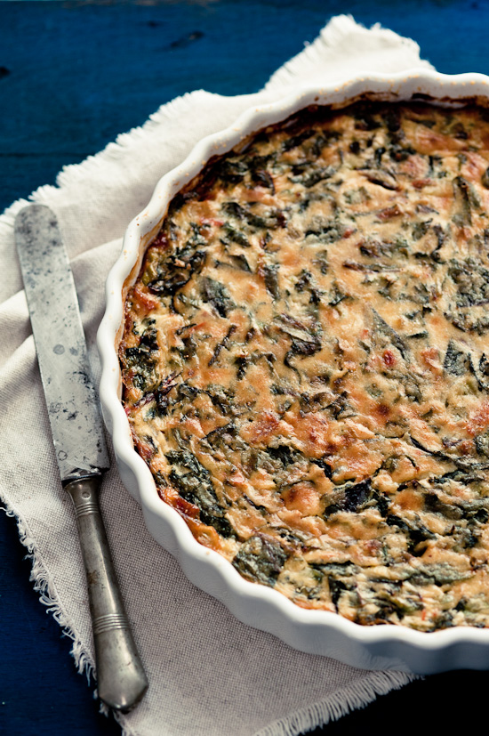Naked beet greens quiche