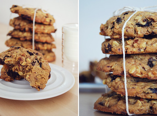 oatmeal chocolate chunk cookies with cherries and pecans