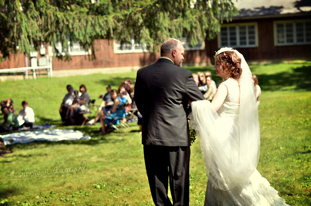 The bride taking her father's arm