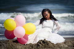 Beauty and the beach (Nancy Rose) Tags: wedding beach balloons happy model sand dress photoshoot thriftstore gown trashthedress blinkagain