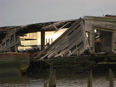 Smokestacks (bk rabblerouser) Tags: wood newyorkcity abandoned boat decay statenisland barge arthurkill boatgraveyard