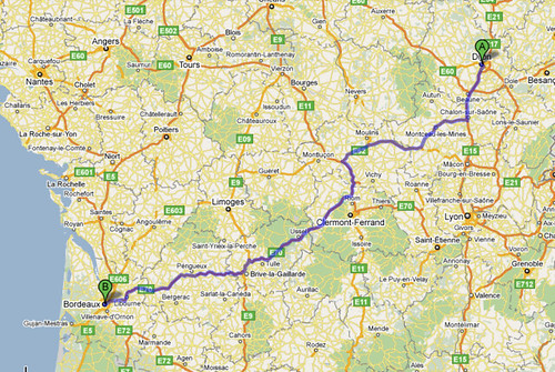 Route Through France From Dijon to Bordeaux