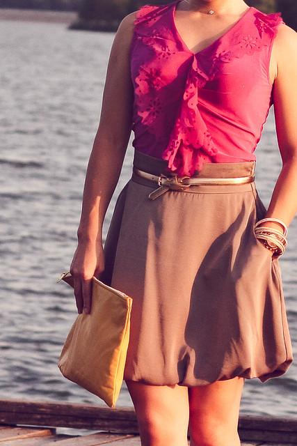 the limited cutout trim top deep fuchsia forever 21 taupe bubble skirt ann taylor perfect skinny belt gold forever 21 mustard pumps american apparel yellow medium carry all pouch sproos pearls of wisdom stretch headband mk5430