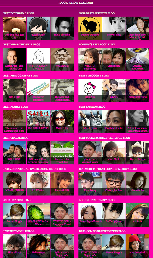 Singapore Blog Awards 2011 – Check out over 100 of the Best Blogs in Singapore! - Alvinology