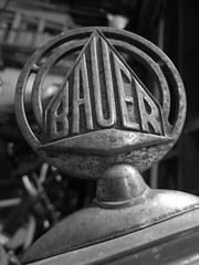 Bauer vintage City Cycle fender logo (SoulRider.222) Tags: blackandwhite logo parts equipment part bauer handheld bikeparts bicycleparts bikepart bicyclepart sooc fenderlogo nikonsooc nikoncoolpixs8100 bauercitycycle blackandwhitebikepart