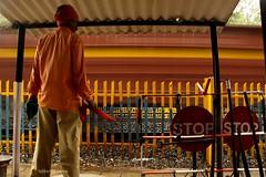 LC at Bhimbetka (Siddhartha Ganesh) Tags: ir trains flags lc levelcrossing freighttrain indianrailways bhimbetka irfca wag7 sidganesh boxnrake siddharthaganesh