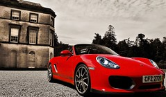Eight legged freak (K. J. Reilly) Tags: red house car canon eos stones spyder porsche dodge northernireland boxster selectivecolour softtop ballynahinch 19inch 1100d httpespaciocochescommodelosmarcasporscheboxster27