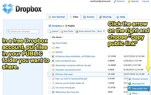 Dropbox - Share with a public link