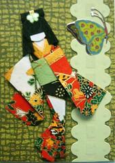 ATC704 - Kazuko (tengds) Tags: red yellow atc butterfly kimono obi papercraft olivegreen japanesepaper washi ningyo handmadecard chiyogami yuzenwashi japanesepaperdoll nailsticker origamidoll tengds