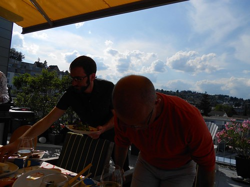 Nate and Gregg at Rooftop Barbecue in Rikterwil