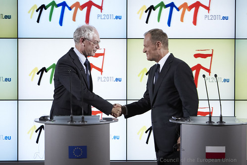 The President Van Rompuy with Prime Minister of Poland Donald Tusk,  1/7/2011