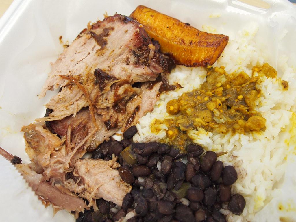 Jerk Pork Plate Lunch from Burning Spear, Shreveport, LA