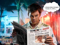 Dexter reading about Casey Anthony trial (Doxieone) Tags: casey tv florida satire anthony murder parody morgan dexter trial fictional notserious