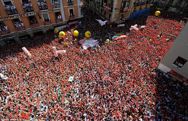 Sun, sangria and a sea of red... as Pamplona prepares for another gorefest at the running of the bulls  3
