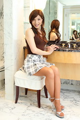 Brown sleeveless cutsew and Check miniskirt_6 (Kyoko Matsushita) Tags: stockings cd crossdressing tgirl miniskirt pantyhose crossdresser