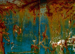 brilliant (skylinejunkie) Tags: red orange metal rust industrial decay turquoise oxidation scrapyard oxidize corrosion
