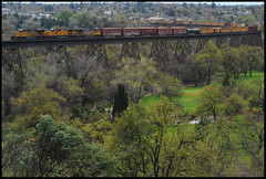 5431 Leading Northbound (huntingtherare) Tags: railroad trestle bridge train bench graffiti freight watermark benching