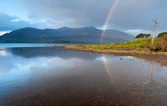 Rainbow over Lough Leane, Killarney (Paul O'B) Tags: ireland lake mountains water reflections golf rainbow lough kerry killarney leane