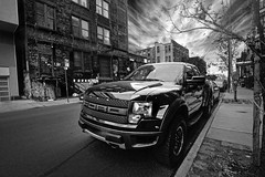 Ford Raptor - F150 in Brooklyn (Neo - nimajus) Tags: auto street nyc bw usa newyork cars ford monochrome brooklyn clouds truck bedford blackwhite offroad pickup automotive pickuptruck tires american raptor williamsburg hdr highdynamicrange tyres fordf150 fordraptor