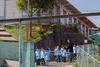 School children in uniform being lined up outside by teacher - Street Scenes, Zarcero, Costa Rica (mikebaird) Tags: students kids children costarica uniforms mikebaird
