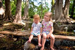 Hazel and Rainey sitting on the board by the creek (Jim | jld3 photography) Tags: summer love nature water smile sisters creek river happy support nikon sister daughter daughters center hazel barefeet cypress 24mm cnc cibolo d800 rainey 14g