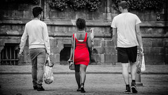 The Woman in Red (tim-wolverson) Tags: woman trio people red dress streetphotography mons belgium
