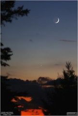 The Moon and Venus from Weatherly, Pennsylvania (Tom Wildoner) Tags: tomwildoner leisurelyscientistcom leisurelyscientist moon venus planet earthglow earthshine solarsystem trees clouds sunset astronomy astrophotography astronomer science space stars colorful border tripod canon canon6d blue orange outdoors sky conjunction october 2016